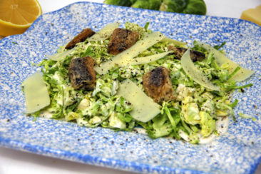 A fresh spin on Caesar salad with Brussels sprouts, sardines