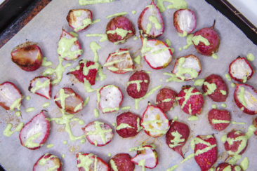 Roasted radishes mellow them into the perfect side dish