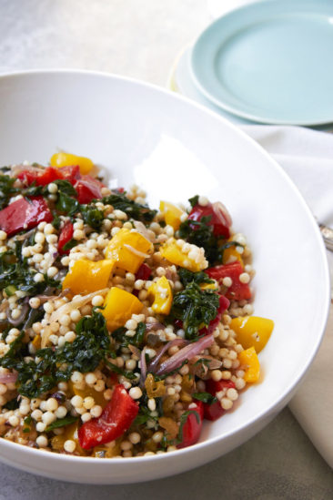 COOKING ON DEADLINE: Israeli Couscous, Swiss Chard, Peppers