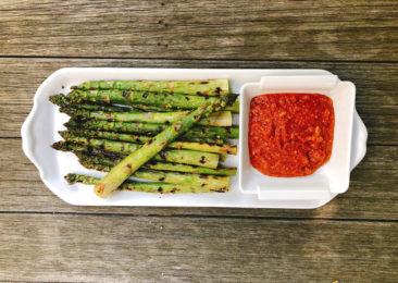 Asparagus sings with a red pepper, almond and tomato sauce