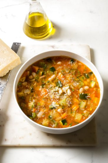 A bright, lively minestrone can be made with a slow cooker