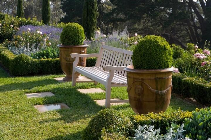 Anduze pots in garden