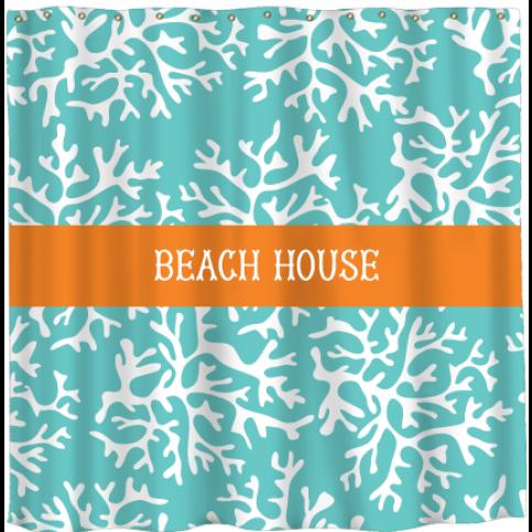 Beach House Monogrammed Shower Curtain