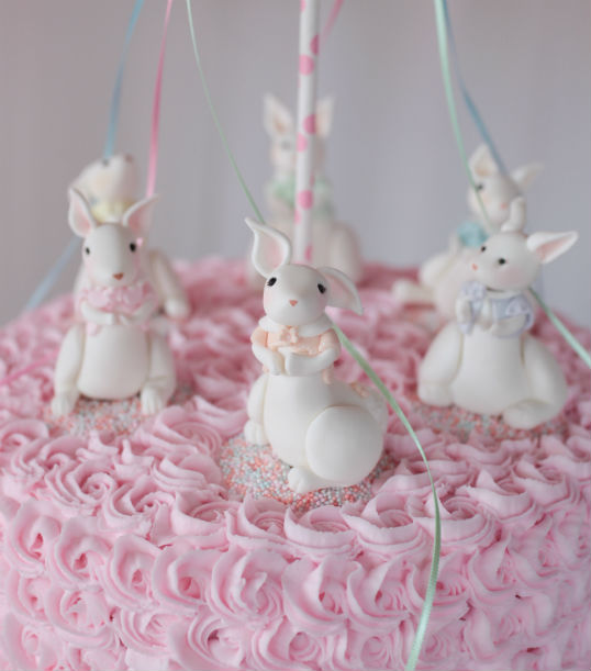 Easter May Pole Cake bunnies close