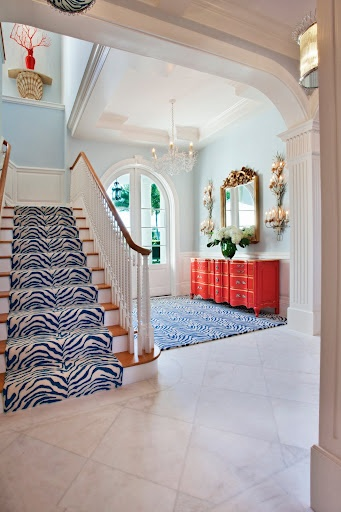 Foyer 5 Zebra Stairway Runner Blue White