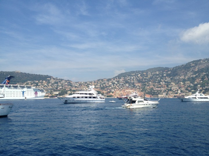 View from our boat down the French Riviera