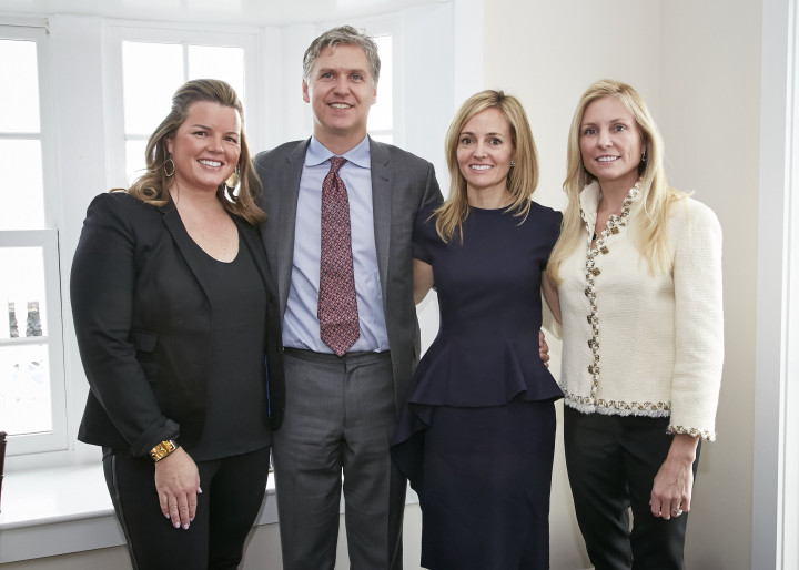 Catherine Tompkins, Markham Roberts, Samantha Moro, Tiffany Burnette at the Markham Roberts Antiquarius Kickoff Luncheon at the Belle Haven Club in Greenwich, CT