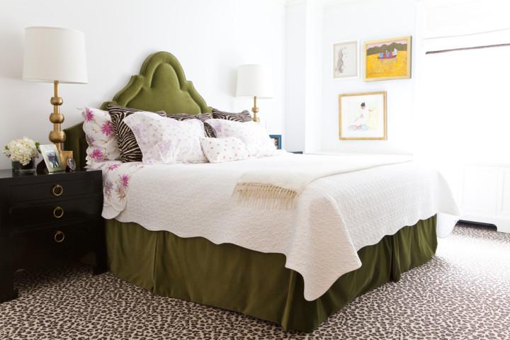 Lilly-Bunn-Downtown-Traditional-Bedroom-Green-Velvet-Headboard-Gold-Black-Nightstand-2