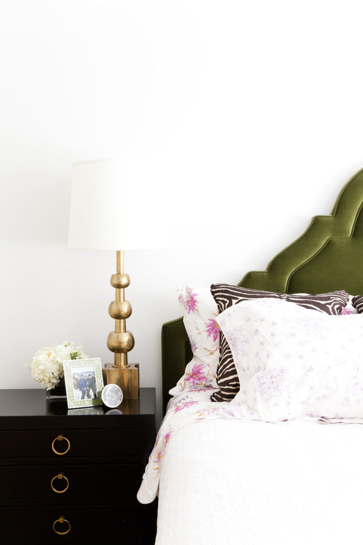 Lilly-Bunn-Downtown-Traditional-Bedroom-Green-Velvet-Headboard-Gold-Black-Nightstand