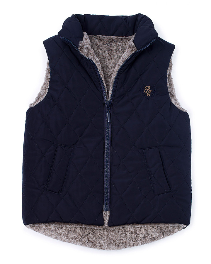 Pili-Carrera-Faux-Fur-Quilted-Zip-Front-Vest-Navy