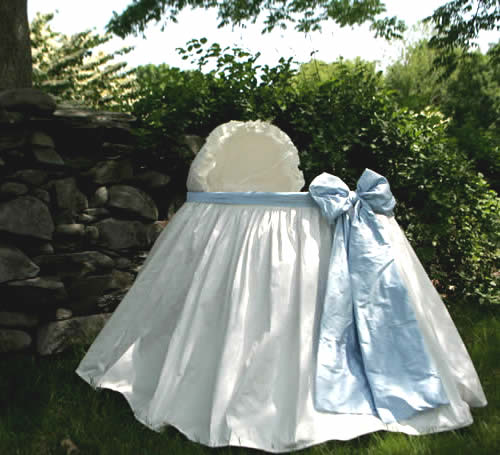 Fit for the royal baby - beautiful silk bassinet from www.wellappointedhouse.com
