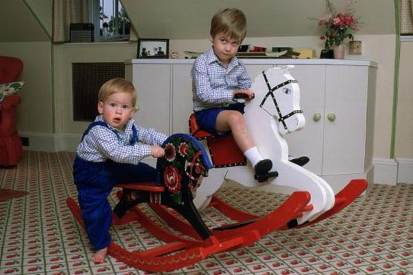 Prince William and Prince Harry in their childhood nursery