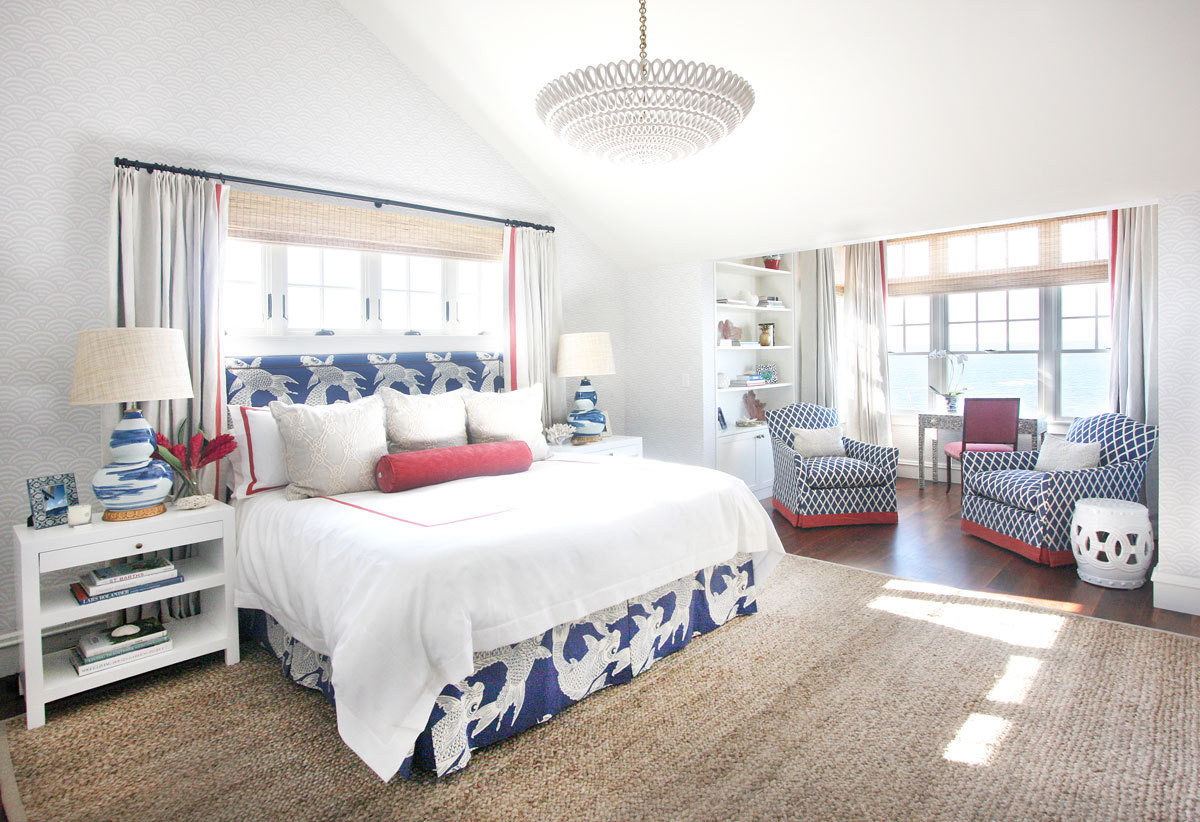 House tour a vibrant summer home with pops of color the for Beach master bedroom ideas
