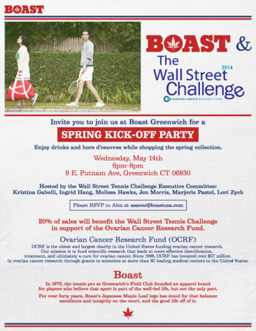 Come to Boast Greenwich for a Spring Kick-Off Party Tomorrow to Support the Ovarian Cancer Research Fund!