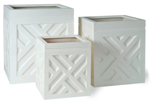 White Chippendale Planters