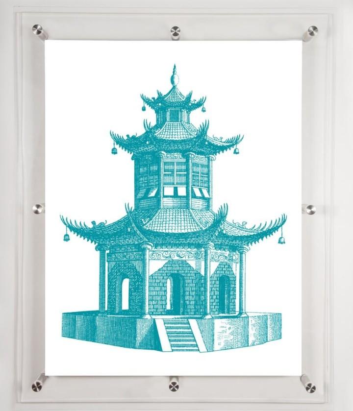 acrylic-framed-pagoda-wall-art-aqua