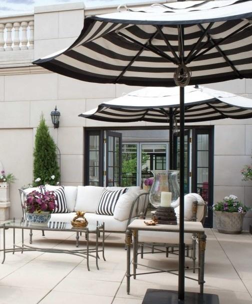black and white striped patio umbrella 3