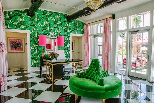 borne-settee-round-sofa-green-velvet-black-white-harlequin-floors-brazilliance-carleton-varney-wallpaper-palm-pink-schumacher