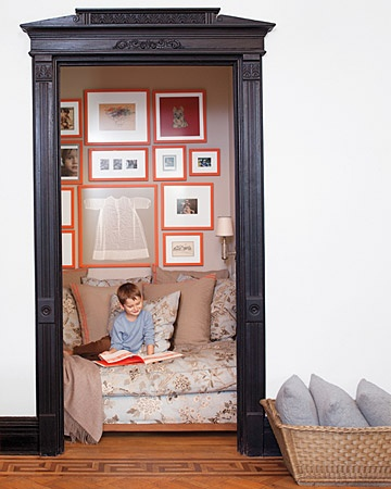 Reading Nook in Brooklyn.  Featured on Martha Stewart, Photography by Matthew Hranek.  Click here for article