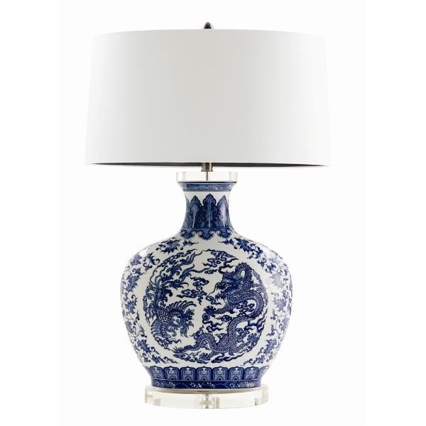 blue and white porcelain lamp with shade 983. Black Bedroom Furniture Sets. Home Design Ideas