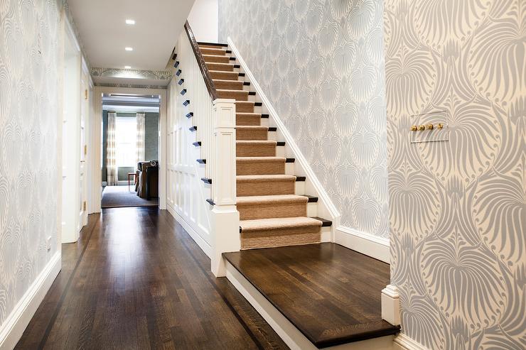foyer-gray-lotus-wallpaper-farrow-and-ball-lotus-wallpaper-jute-stair-runner