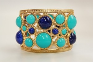 gold_lapis_turquoise_cabochon_hinged_cuff