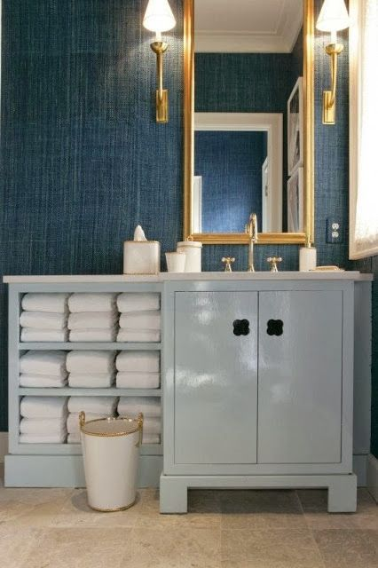 grasscloth bathroom