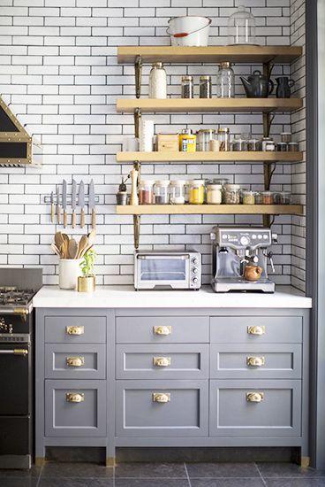 gray cabinets kitchen brass