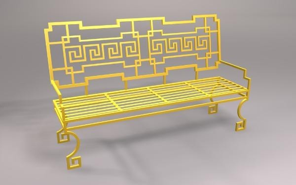greek-key-bench-yellow-wrought-iron-hand-crafted-outdoor-furniture