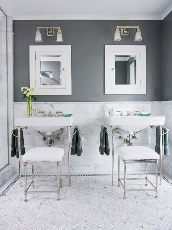 grey herringbone bathroom