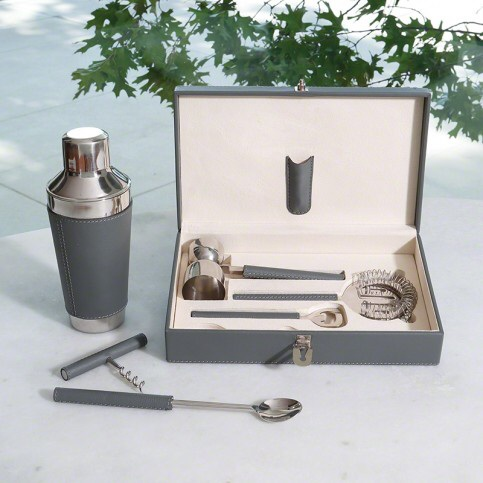 Gray leather bar tools set