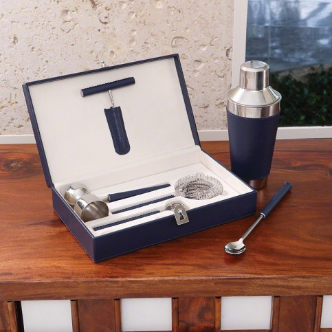 Blue Leather bar tool set, cocktail shaker