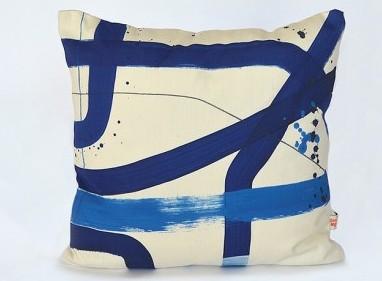 Indigo Blue Abstract Splatter Brushstroke Atelier Pillow $186