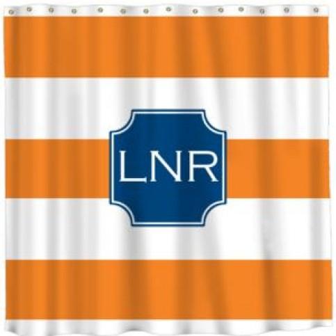 orange stripe monogrammed shower curtain