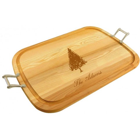 personalized_large_wooden_handled_traycutting_board_with_fir_tree_design