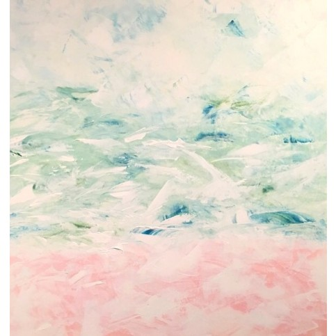 Pink Sand Abstract Pink  Green Original Canvas Painting $2200