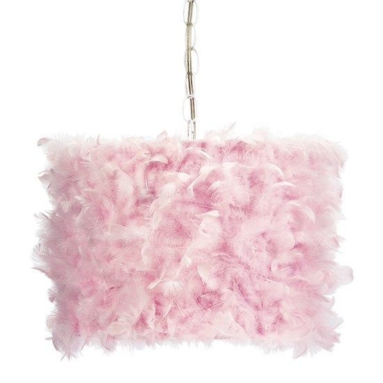 pink_feather_drum_shade_pendant_light