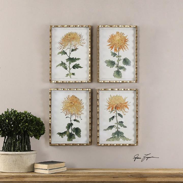 set-of-4-tangerine-spider-mums-wall-art-gold-leaf-frames-gray-wash