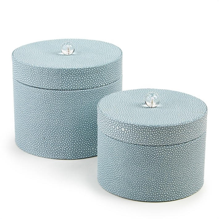 set_of_two_faux_shagreen_round_covered_boxes_french_blue