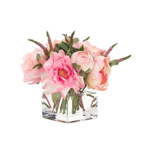 silk_pink_rose_ranunculus_in_a_glass_cube
