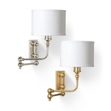 swing-arm-wall-sconce-antique-brass-shiny-nickel-drum-shade