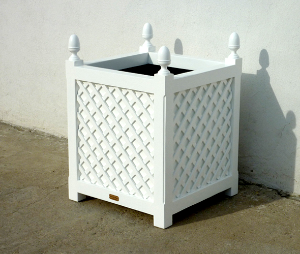 white wooden plant stand planter with lattice